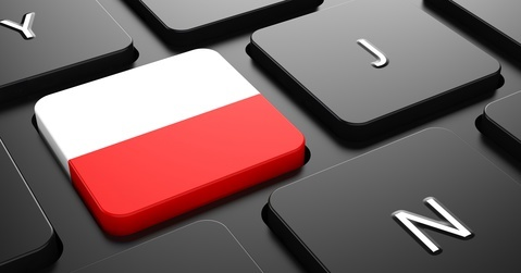 Poland - Flag on Button of Black Keyboard.
